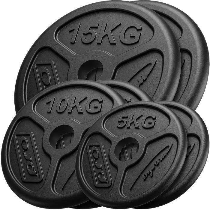 Marbo Sport De Poids Lombaire Olimpic en Fonte ø50 / 51 mm - 2 x 15 kg + 2 x 10 kg + 2 x 5 kg / 60 kg