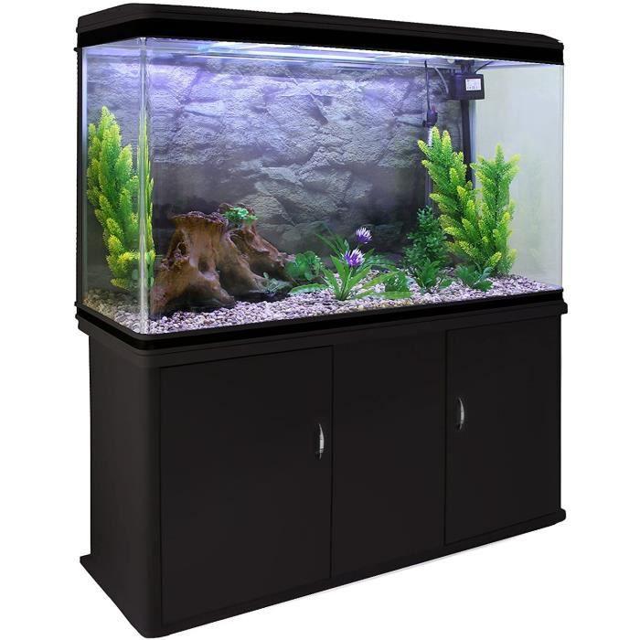 – Aquarium à Bords Noir de 300 litres, Kits et Accessoires de Démarrage, Graviers Naturel, Meuble Noir, d'Une Dimension Totale [125]