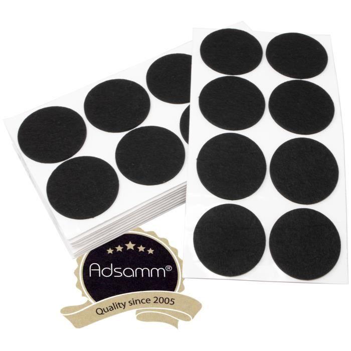 80 x patins en feutre - Ø 60 mm - noir - rond - patins glisseurs auto-adhésifs de qualité optimale