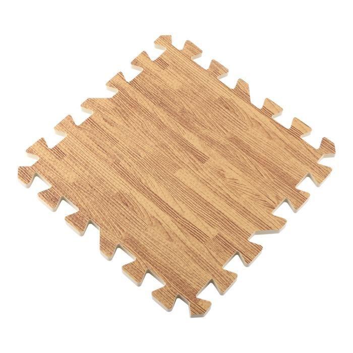 GOTOTOP Tapis de sol 9 pièces imitation bois mousse souple exercice tapis de sol gymnase enfants tapis de jeu grain de bois léger