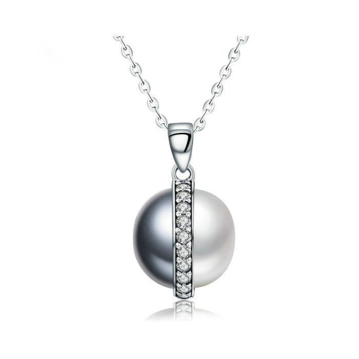 Collier Pendentif Femme Perle Noir et Blanc en Cristal de Swarovski Elements et Argent 925 - - Blue Pearls 8320