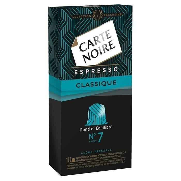 LOT DE 24 - CARTE NOIRE Espresso classique n°7 Compatible Nespresso - 10 Capsules de café