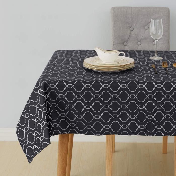 Deconovo Nappe Table à Manger Rectangulaire Exterieure Nappe Imperméable Jacquard Motif Marocain 132x229cm Gris Foncé