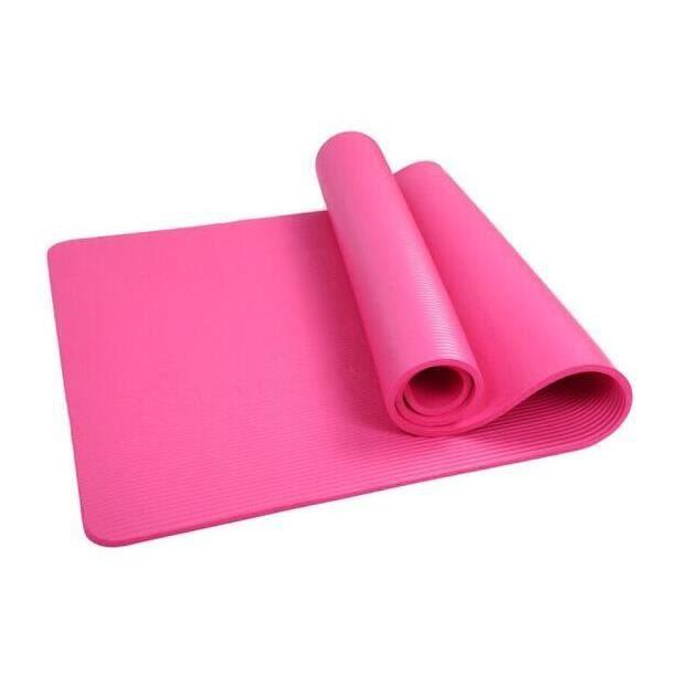 Tapis de Pilates Yoga Antidrapant avec Sangle Transport 183*61*1 cm Tapis de Fitness Gym - Rose