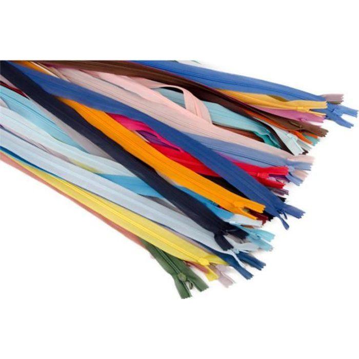 39 Pcs Fermeture Eclair Tirette Zip Invisible en Nylon Multicolore Accessoire de Couture Mercerie pour Robe Coussin 25cm