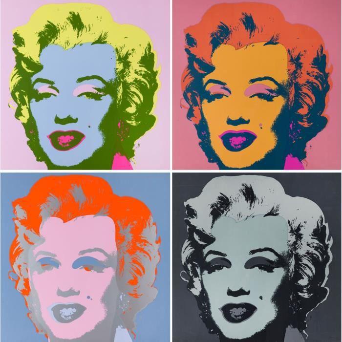 Poster Affiche Andy Warhol Portrait Quadriptique Marilyn Monroe Pop Art 60's Vintage 42cm x 42cm