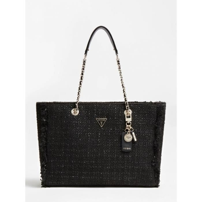 Guess - Grand sac cabas chic femme en tweed Cessily (hwtg7679230) black taille 28 cm