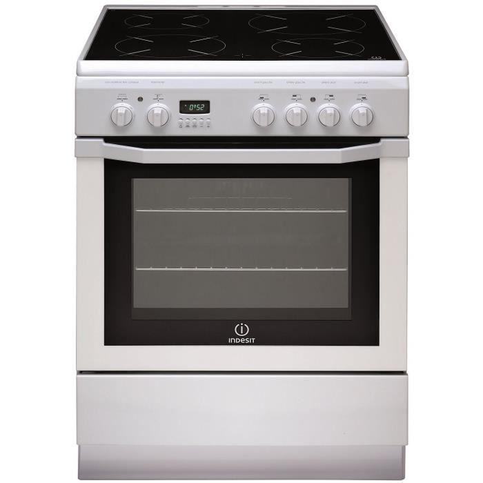 INDESIT I6V6C6A(W)FR Cuisinière Plaque de cuisson vitrocéramique - 4 zones - Four électrique - Catalyse - 59L - A - 60x85 cm - Blanc