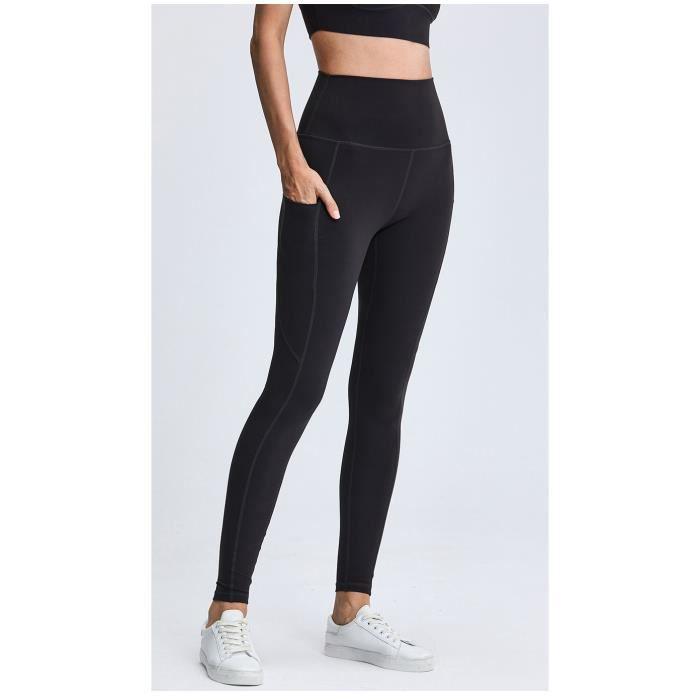 Legging de Sport Femme - Fitness, Yoga, Jogging, Running, Workout (Noir)
