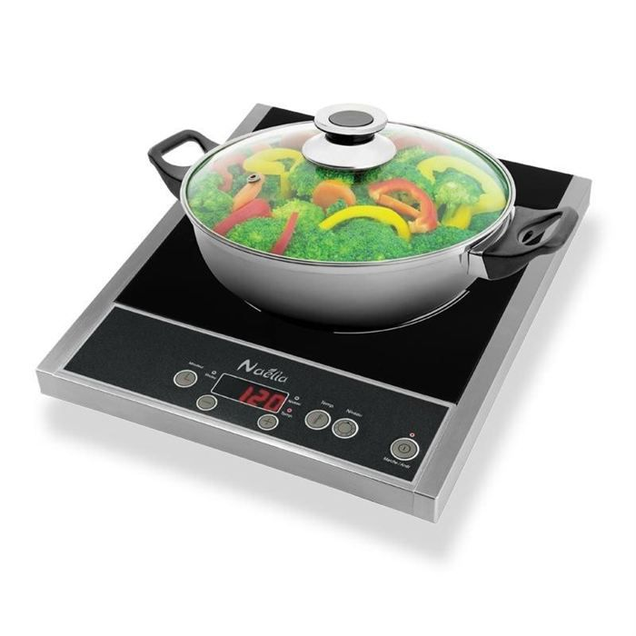 NAELIA CGF-03205 Plaque de cuisson posable à induction + faitout offert - Noir