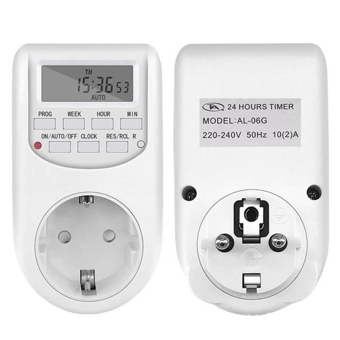 Prise Programmable Digitale, Minuterie Numérique, Programmateur Prise Electrique avec Ecran LCD et Mode Aléatoire Antivol