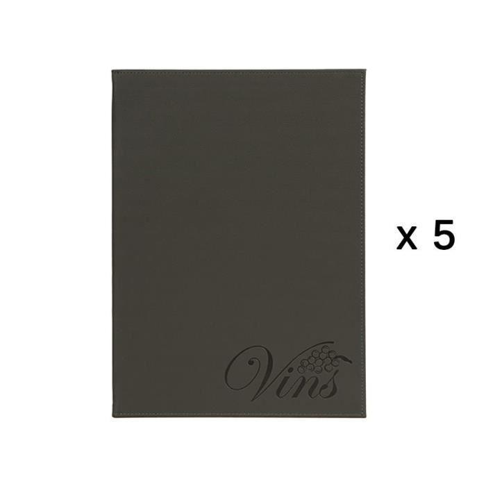 Lot de 5 cartes de vins et boissons Velvet Luxe format A4 - DEMC-DRWC-VELVET-5 3,5 PVC