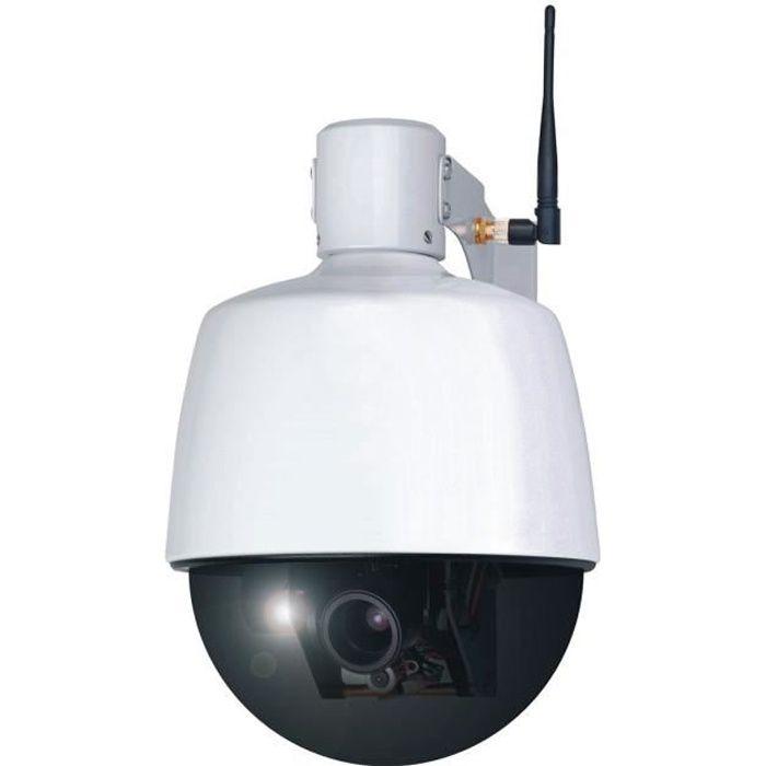 SMARTWARES Caméra de surveillance IP motorisée et connectée LAN/Wi-Fi pour extérieur