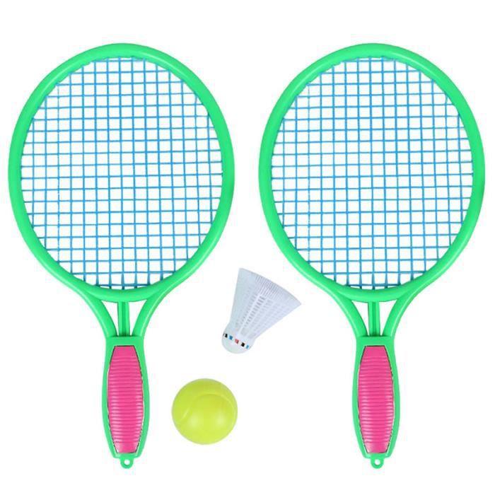 Raquette de Tennis de Plage Sports de Plein Air pour les Enfants Raquette de Tennis avec Balle de Badminton Vert