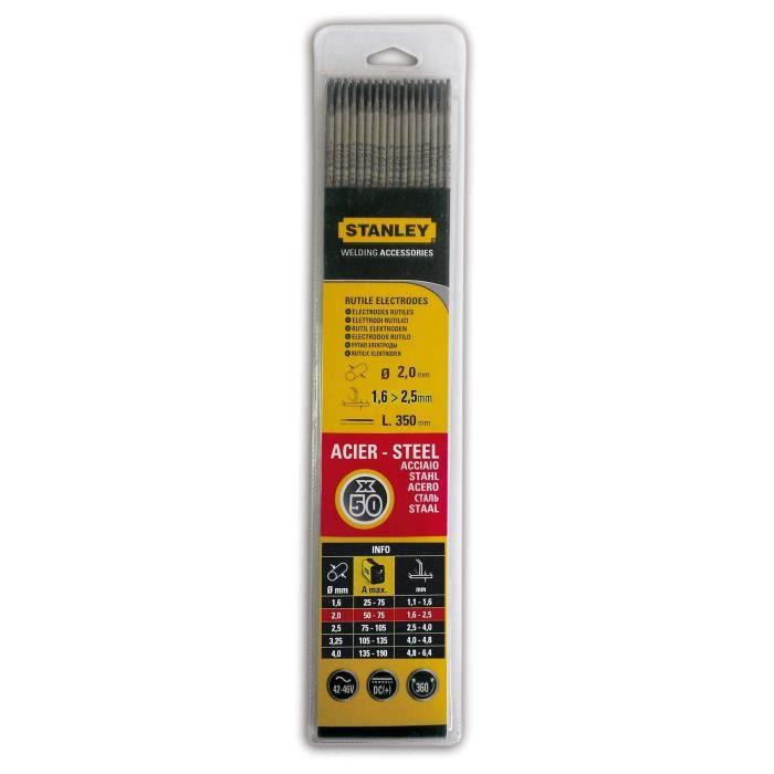STANLEY 460820 Lot de 50 électrodes rutiles acier - Ø 2 mm - L 350 mm - Baguettes de soudure
