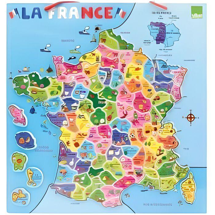 Vilac - Puzzle Carte La France magnetique en bois 95 magnets - 42 x 44 cm - Jeu educatif Enfant