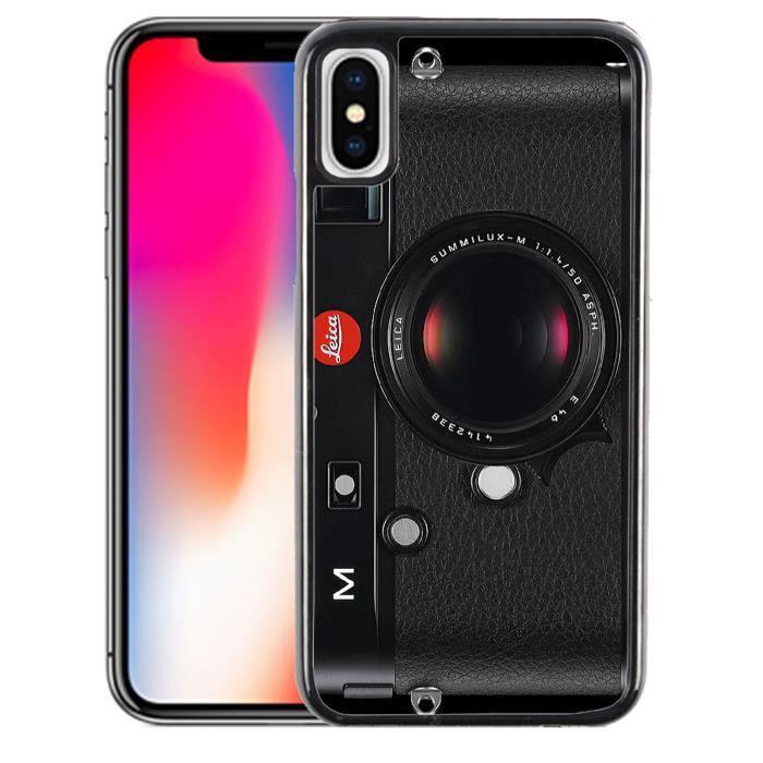 coque pour iphone x appareil photo vintage noir