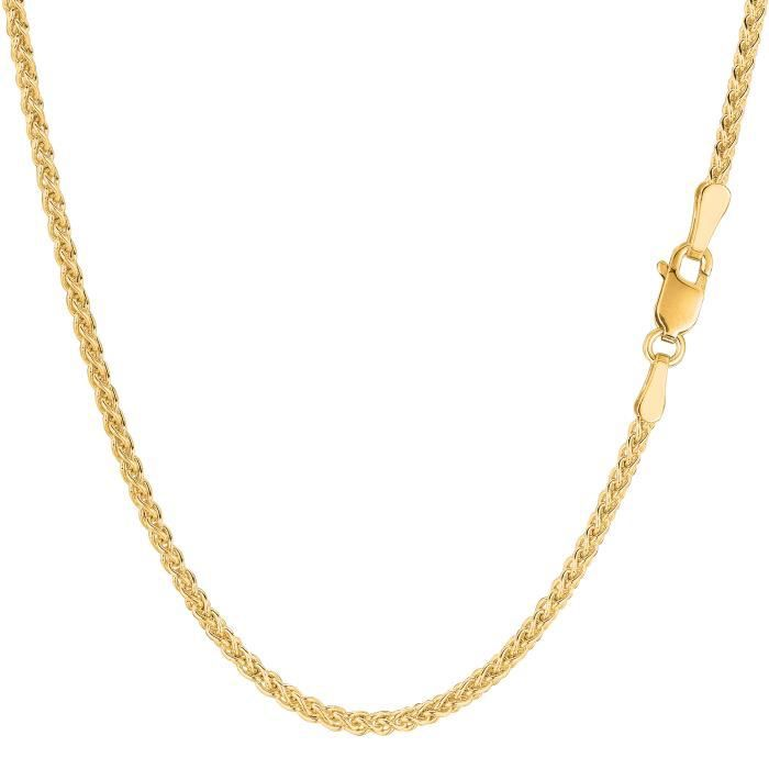 Collier- 14k blé ronde or jaune, 2,1 mm, 16