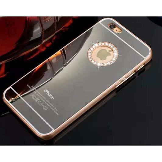 Coque iphone 6 4 7 tpu swag miroir contour or diamants for Coque iphone 6 miroir