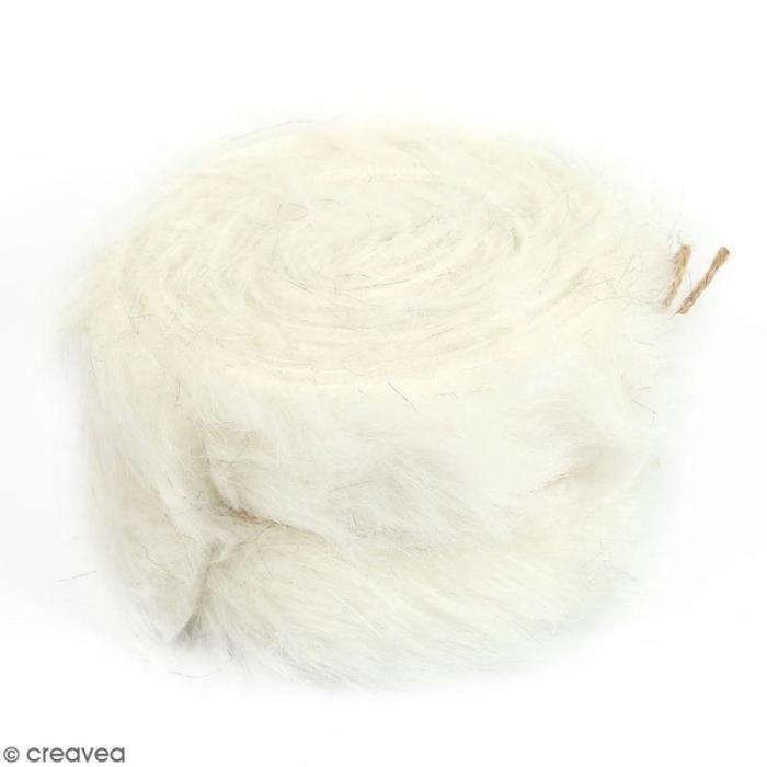 TISSU Rouleau de tissu fausse fourrure - Blanc - 6 cm x