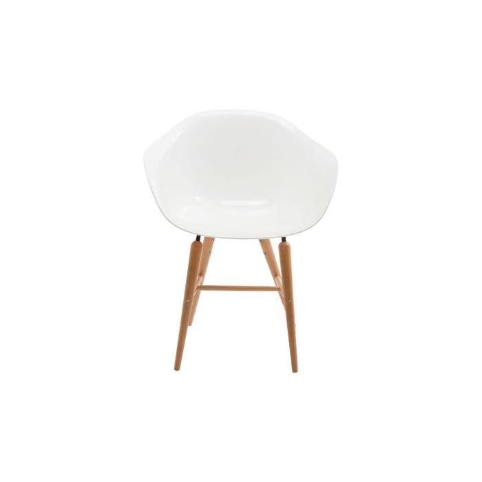 Chaise Bauhaus blanche pied en bois - Achat / Vente chaise ...