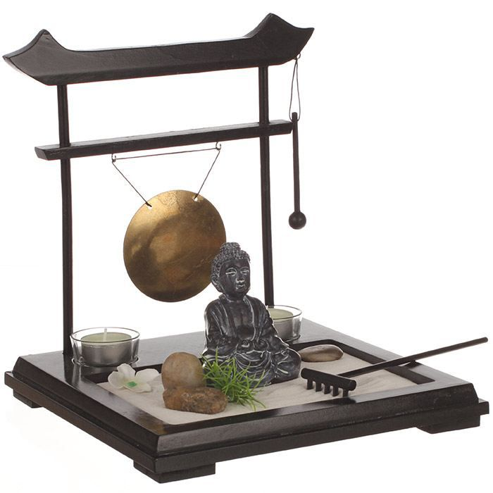 jardin zen japonais avec gong statuette achat vente. Black Bedroom Furniture Sets. Home Design Ideas