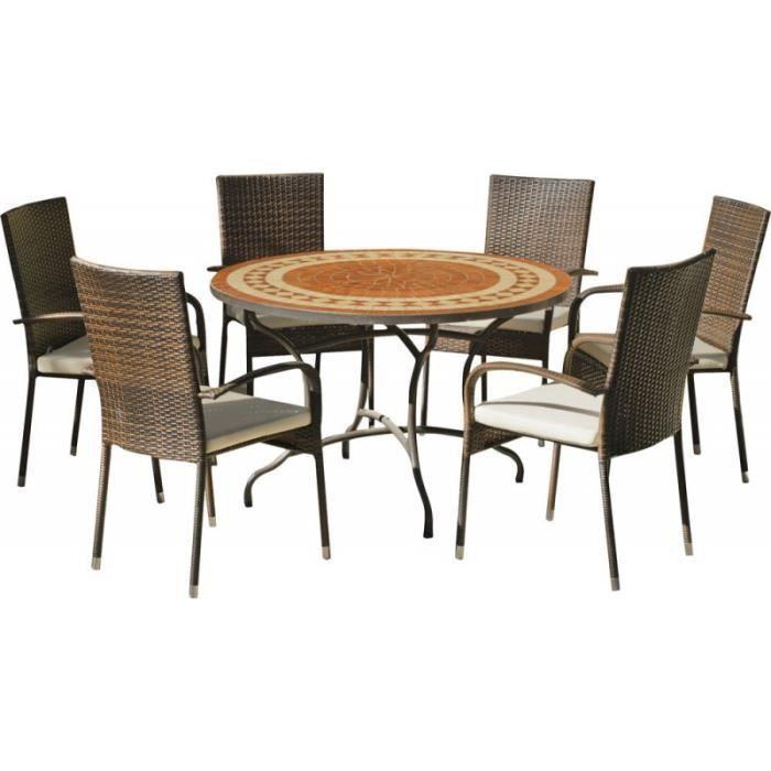 Table ronde mosaïque et fauteuils Lorny Bergamo • Mobilier ...