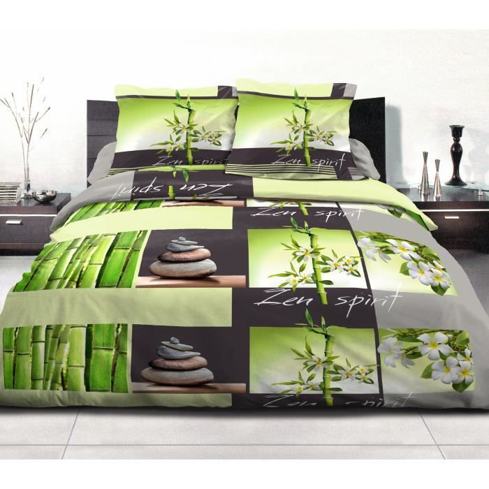 housse de couette imprim e vert achat vente housse de. Black Bedroom Furniture Sets. Home Design Ideas