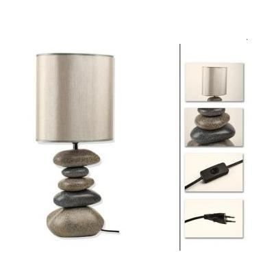 lampe galets ceramique gris 60cm. Black Bedroom Furniture Sets. Home Design Ideas