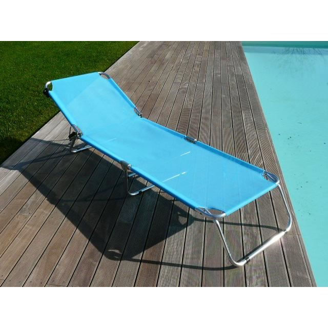 bain de soleil brenda aluminium pliant azur achat vente chaise longue bain de soleil brenda. Black Bedroom Furniture Sets. Home Design Ideas