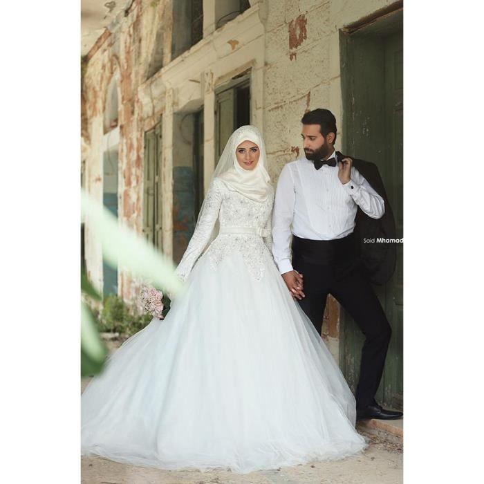 Robe de mariage-mariée Blanche longue caftan