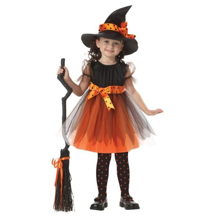 Déguisement Maquillage Halloween Enfant Sorcière avec Chapeau Cosplay  Déguisement pour Fille 3,11 ans Costume Robe