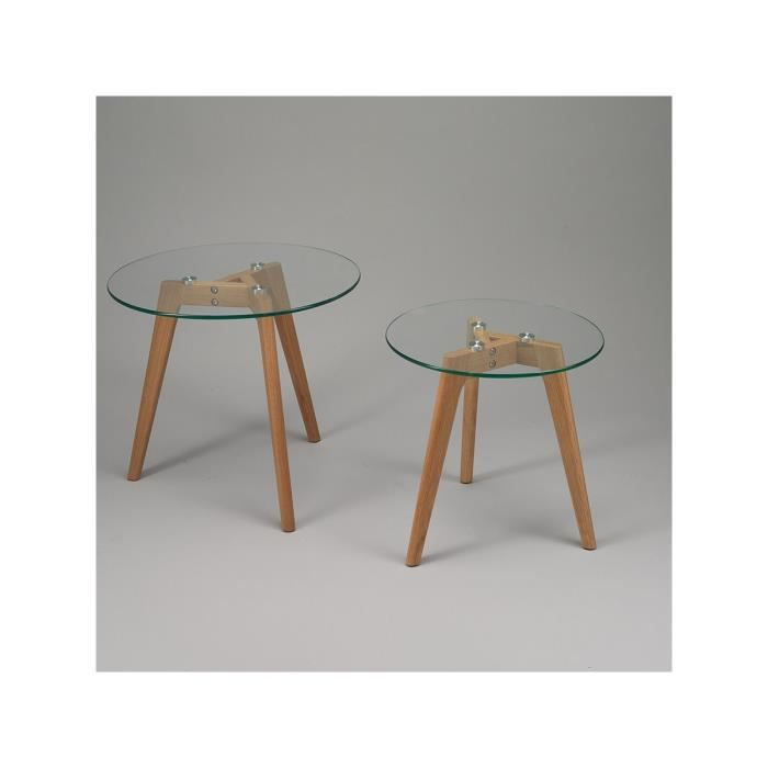 Simla lot de 2 tables basses rondes en ch ne et verre for Table basse chene et verre