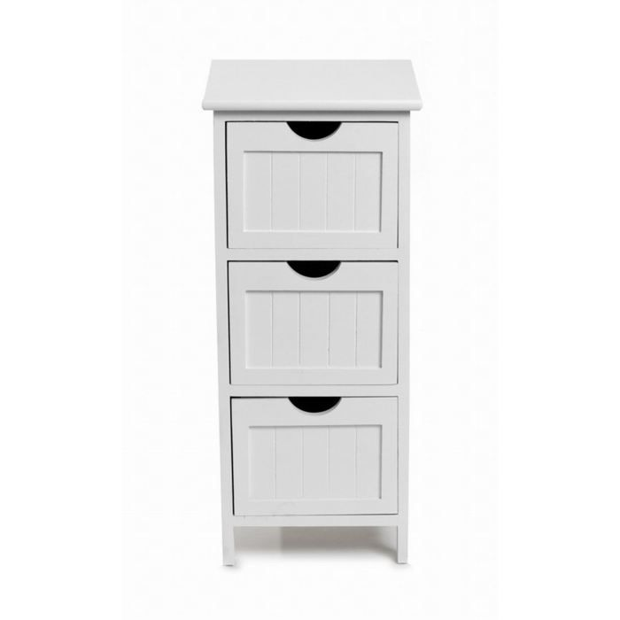 meuble 3 tiroirs blanc achat vente commode de chambre meuble 3 tiroirs cdiscount. Black Bedroom Furniture Sets. Home Design Ideas
