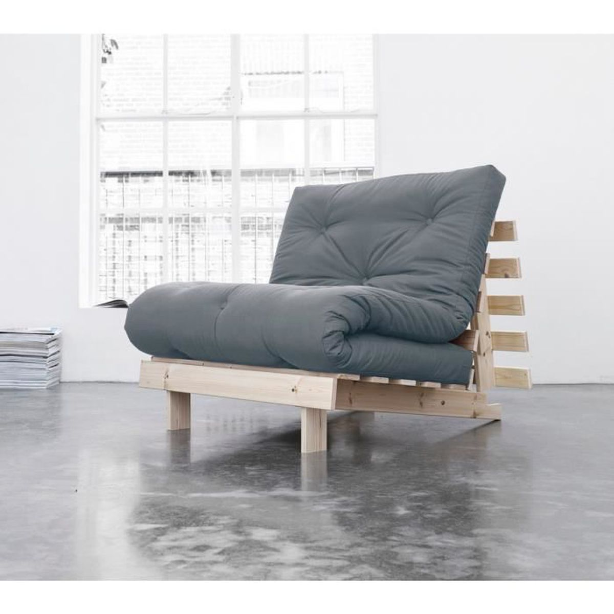 pack matelas futon gris coton structure en bois naturel 140x200 achat vente futon cdiscount. Black Bedroom Furniture Sets. Home Design Ideas