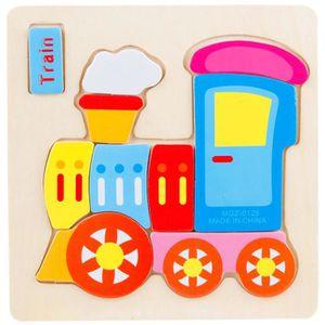 PUZZLE Puzzle 1pc train en bois puzzle éducatif bébé joue