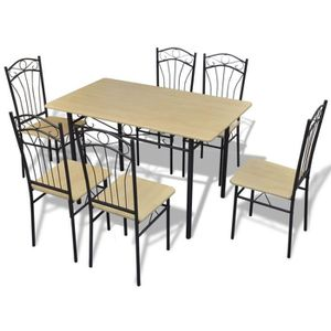 TABLE A MANGER COMPLET Set 1 table et 6 chaises marron clair