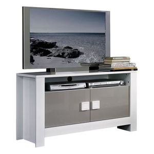 meuble tv design laque blanc et gris achat vente meuble tv design laque blanc et gris pas. Black Bedroom Furniture Sets. Home Design Ideas