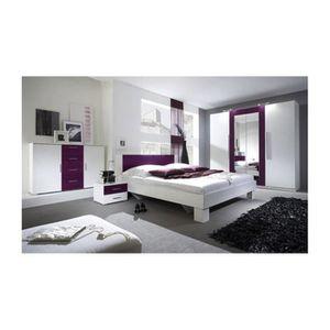 ARMOIRE DE CHAMBRE Chambre complète VERA 160x200 cm , blanc et violet