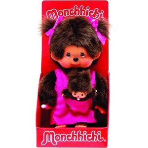 PELUCHE MONCHICHI Maman et son bébé rose - 20 cm