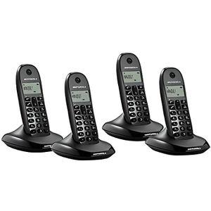 Téléphone fixe Téléphone Sans Fil Motorola C1004 (4 pcs) Noir