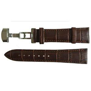 BRACELET DE MONTRE Bracelet Montre Cuir Marron Fermoir Papillon 22mm