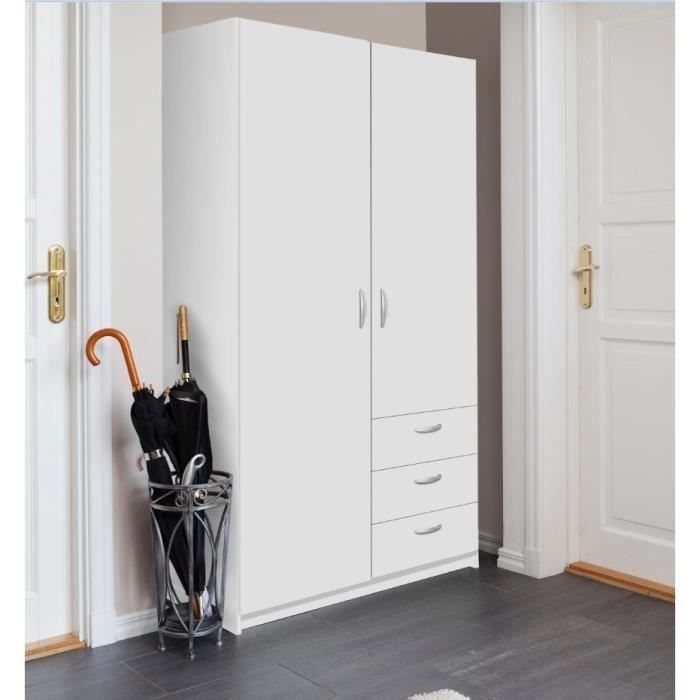 varia armoire de chambre style contemporain blanc l 97 cm achat vente armoire de chambre. Black Bedroom Furniture Sets. Home Design Ideas