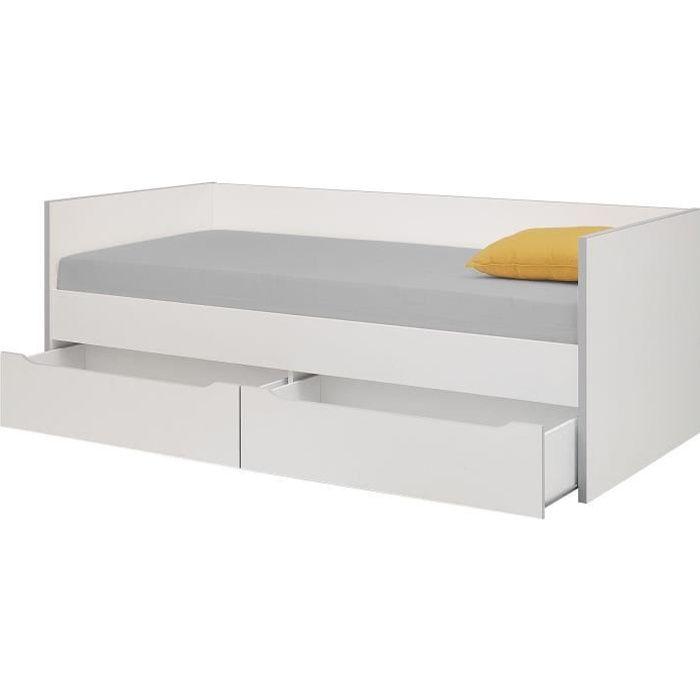 STRUCTURE DE LIT RYAN Lit enfant banquette 2 tiroirs 90 x 200 cm -