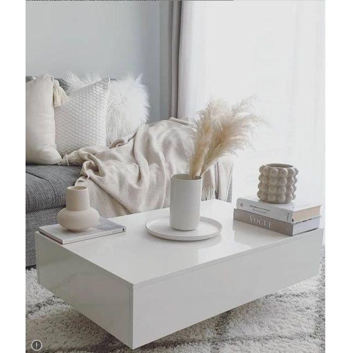 Table basse blanche avec une finition de haute brillance modern, MDF + verre trempé 85 x 55 x 31 cm