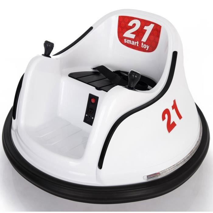 Voiture auto tamponnante - auto tournante électrique Blanc - Voiture électrique pour enfant avec batterie 6v et télécommande