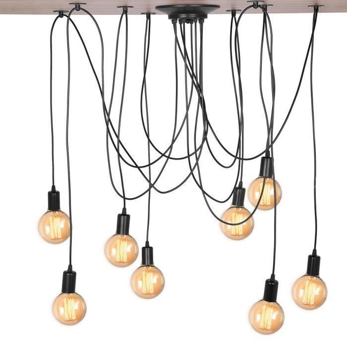 NAKESHOP Lustre araignee E27 Lampe De Plafond Suspension Luminaires Design Industriel 8 Douilles
