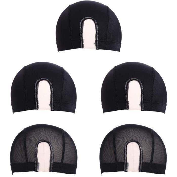 Extensions de cheveux et perruques et accessoires 5 Pièces Maille Dôme Perruque Cap Spandex Filet À Cheveux Extensible R 250792
