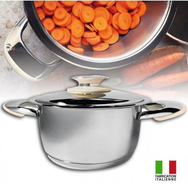 Foodybio® Faitout Basse Température 5,6L en Inox 18-10 avec Couvercle et Thermomètre Intégré Compatible Tous Feux dont Induction