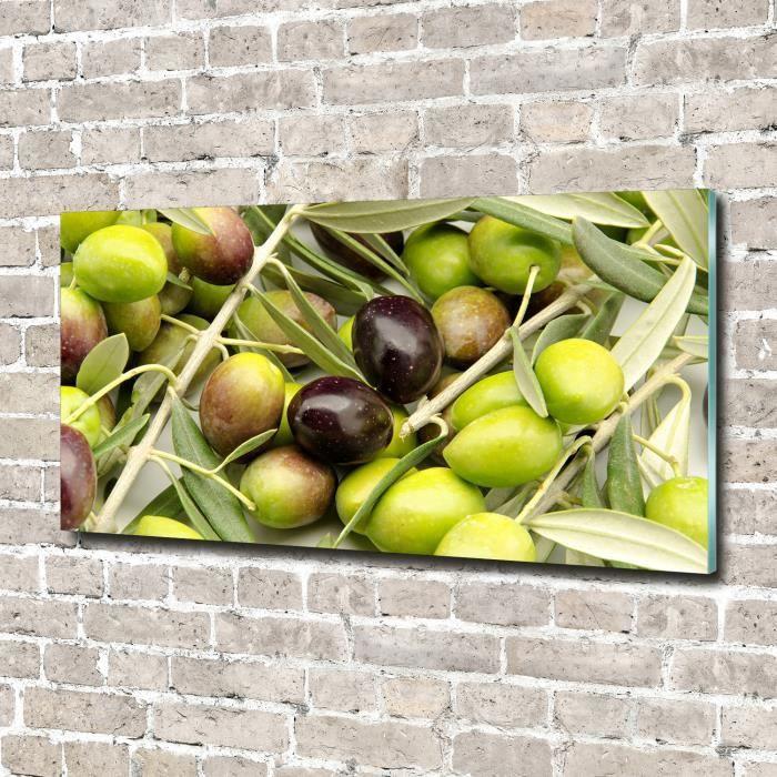 Tulup 140x70cm Tableau sur verre acrylique- Nourriture boissons - Olives Fraîches - Vert
